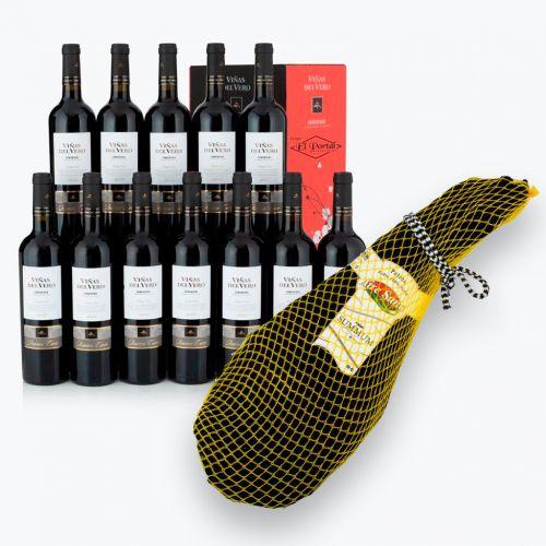 Oferta exclusiva de 12 botellas de vino Somontano Tinto Reservay  te regalamos una paleta de jamón 100% Duroc